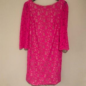 Nine West Hot Pink Lace Shift Dress Size 4